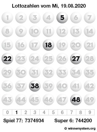 Lottozahlen vom 19.08.2020 als Tippmuster