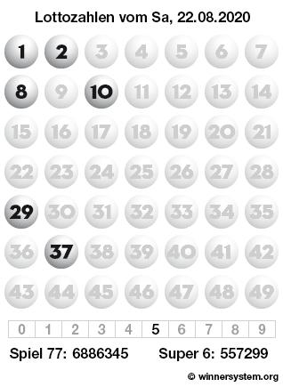 Lottozahlen vom 22.08.2020 als Tippmuster