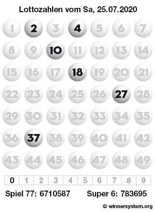 Lottozahlen vom 25.07.2020 als Tippmuster