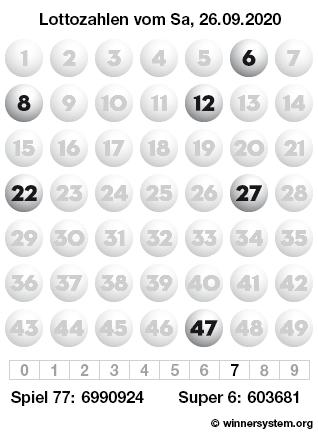Lottozahlen vom 26.09.2020 als Tippmuster