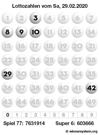 Lottozahlen vom 29.02.2020 als Tippmuster