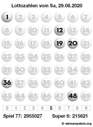 Lottozahlen vom 29.08.2020 als Tippmuster