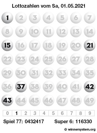 Lottozahlen vom 01.05.2021 als Tippmuster