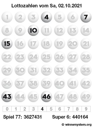 Lottozahlen vom 02.10.2021 als Tippmuster
