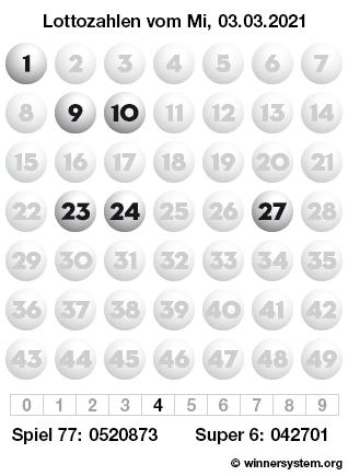 Lottozahlen vom 03.03.2021 als Tippmuster