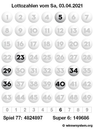Lottozahlen vom 03.04.2021 als Tippmuster