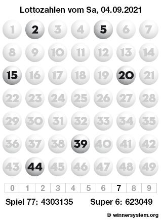 Lottozahlen vom 04.09.2021 als Tippmuster
