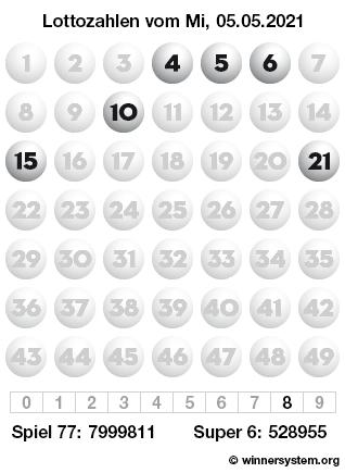 Lottozahlen vom 05.05.2021 als Tippmuster