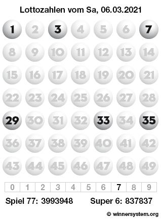 Lottozahlen vom 06.03.2021 als Tippmuster