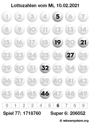 Lottozahlen vom 10.02.2021 als Tippmuster