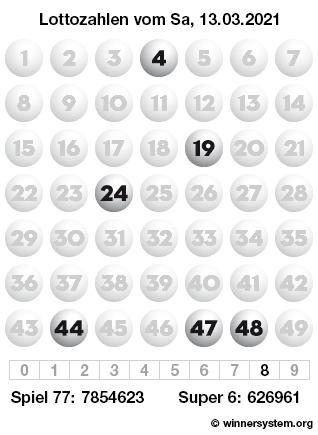 Lottozahlen vom 13.03.2021 als Tippmuster