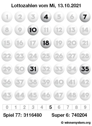 Lottozahlen vom 13.10.2021 als Tippmuster