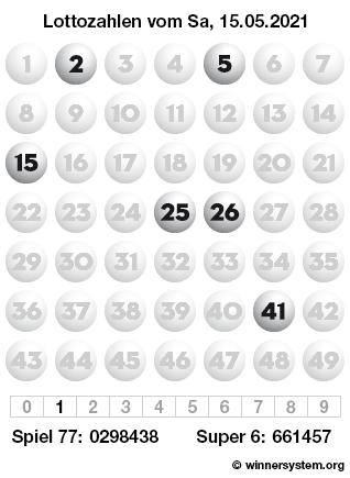Lottozahlen vom 15.05.2021 als Tippmuster
