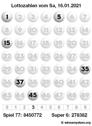 Lottozahlen vom 16.01.2021 als Tippmuster