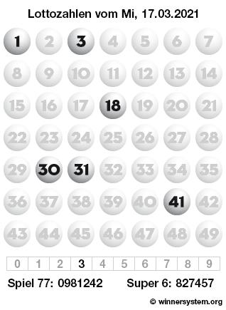Lottozahlen vom 17.03.2021 als Tippmuster