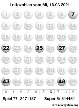 Lottozahlen vom 18.08.2021 als Tippmuster