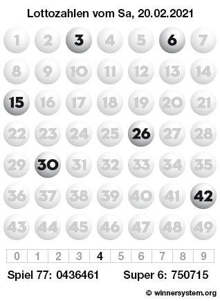Lottozahlen vom 20.02.2021 als Tippmuster