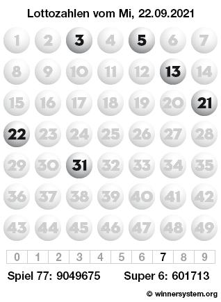 Lottozahlen vom 22.09.2021 als Tippmuster
