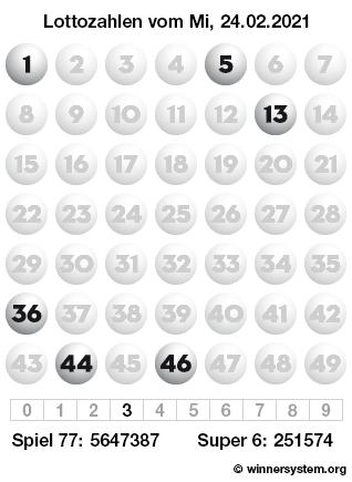 Lottozahlen vom 24.02.2021 als Tippmuster