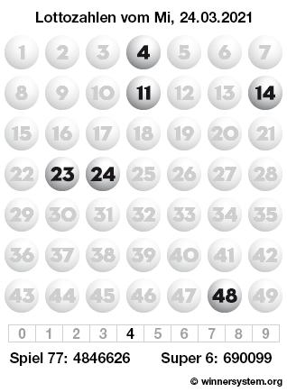 Lottozahlen vom 24.03.2021 als Tippmuster