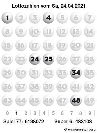 Lottozahlen vom 24.04.2021 als Tippmuster
