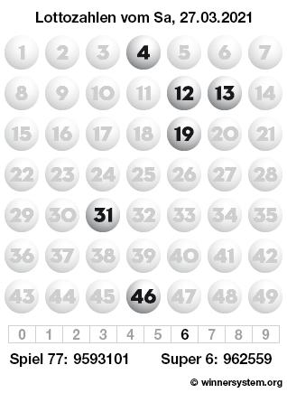 Lottozahlen vom 27.03.2021 als Tippmuster