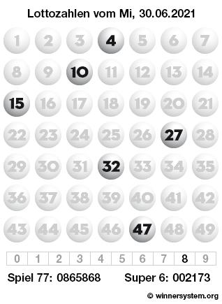 Lottozahlen vom 30.06.2021 als Tippmuster