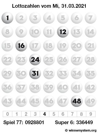 Lottozahlen vom 31.03.2021 als Tippmuster