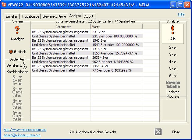 Systemanalyse: Wie viele 2-er, 3-er, 4-er, 5-er und 6-er Kombinationen beinhaltet dieses System?