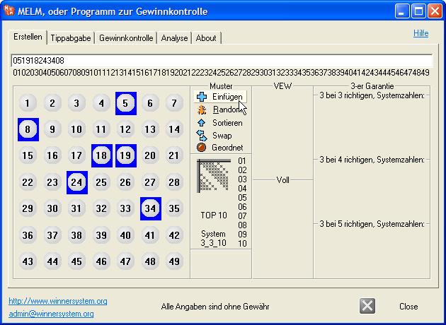 Manuelles Erstellen von einzelnen Lottoreihen