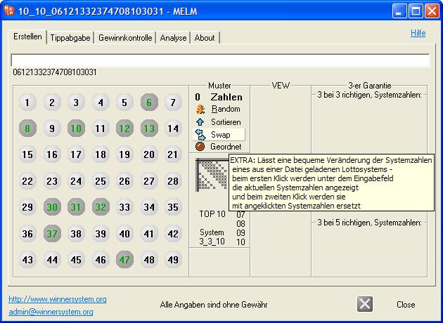 Veränderung der Systemzahlen eines Lottosystems, engl. Swap - farbliche Anzeige der im Lottosystem vorhandenen Systemzahlen