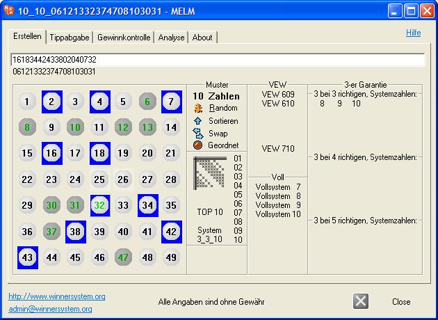 Eingabe der neuen Lotto-Systemzahlen des geladenen Lottosystems