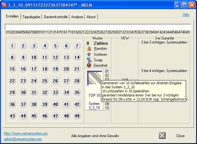 Erstellen von einem Lottosystem 3_3_10 mit einem einzigen Mausklick