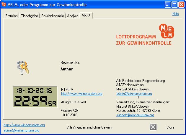 About- Box des Lottoprogramms MELM