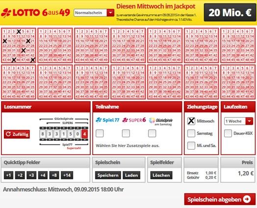 Lottoschein Baden-Württemberg (Abbildung ähnlich)