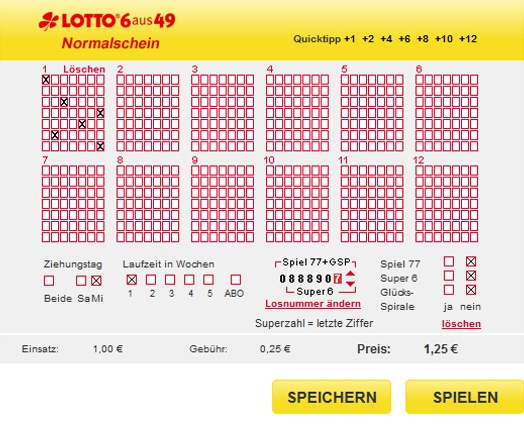 Lotto Jahreslos Kosten
