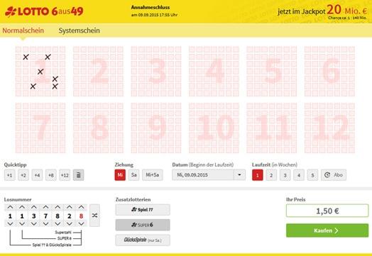 Lottoschein Lotto Brandenburg (Abbildung ähnlich)