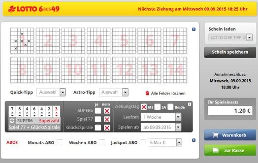 Lottoschein Lotto Hessen (Abbildung ähnlich)