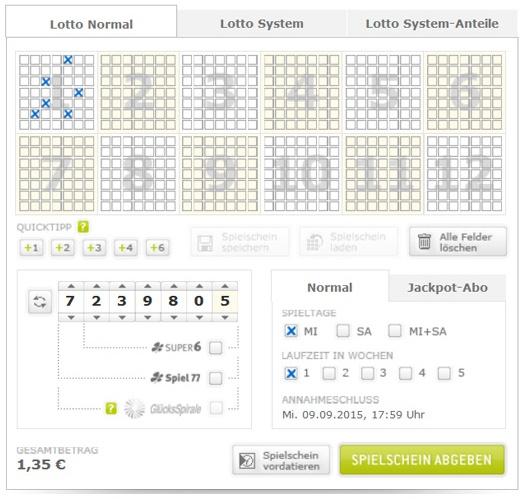 Lottoschein Lotto Nordrhein-Westfalen = Westlotto (Abbildung ähnlich)