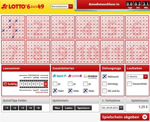 Lottoschein Lotto Saarland = Saartoto (Abbildung ähnlich)