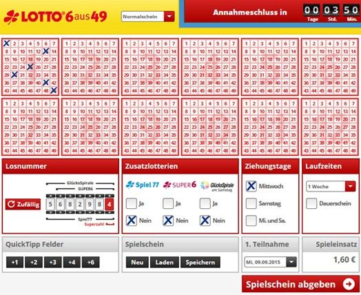 Lottoschein Lotto Schleswig-Holstein = Nordwestlotto (Abbildung ähnlich)