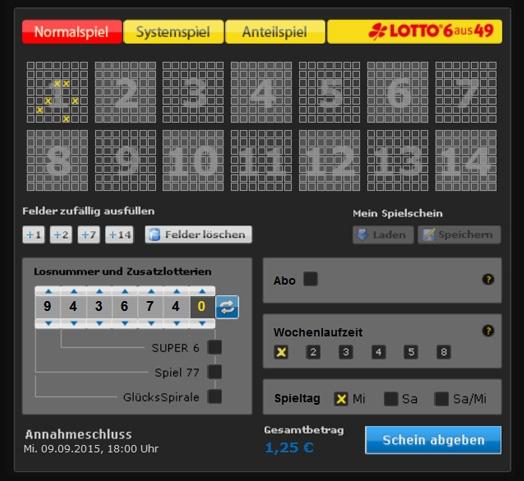 Lottoschein Lotto Thüringen (Abbildung ähnlich)
